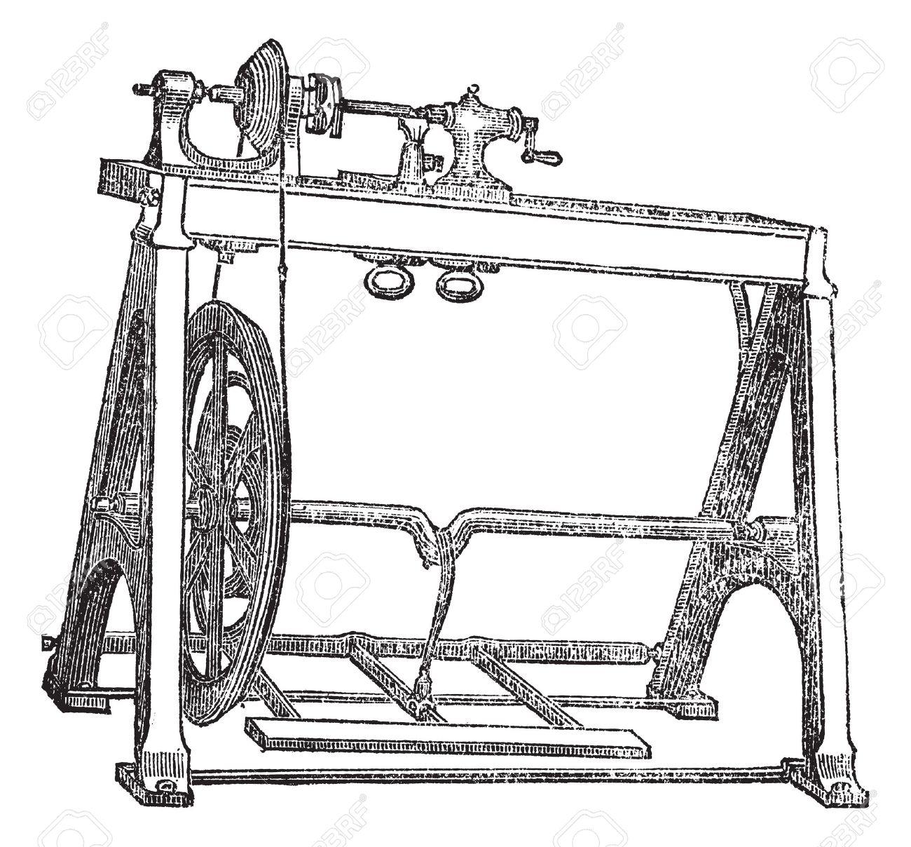 Spindle Lathe Woodturning Machine, Vintage Engraved Illustration.