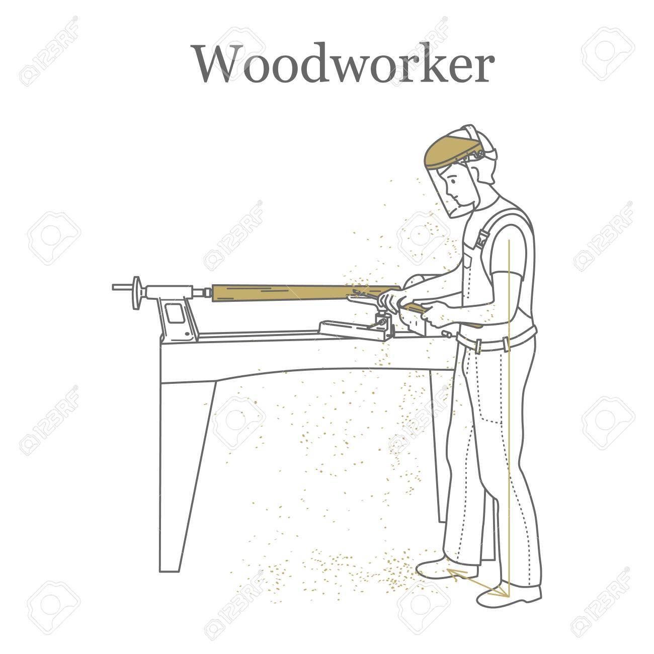 Turner works behind a lathe, processes a wooden bar. Outline...