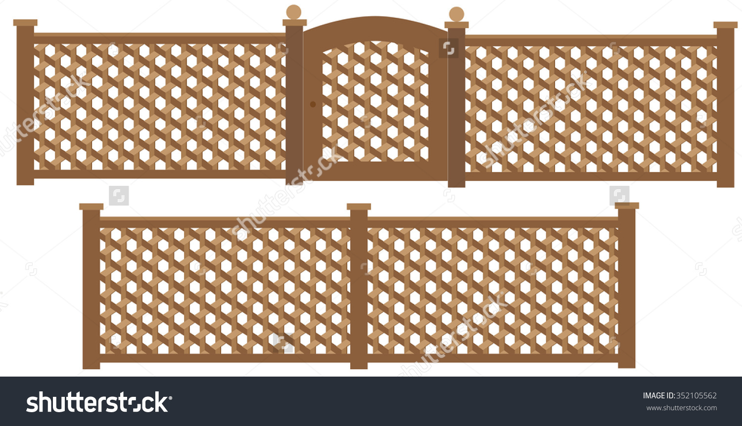 Wooden Trellis Lattice Fence Gate Vector Stock Vector 352105562.