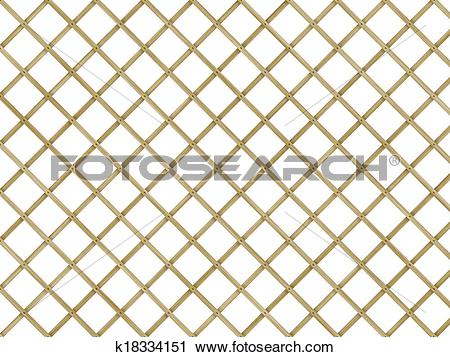 Clipart of wood lattice of diagonal planking with clipping path.