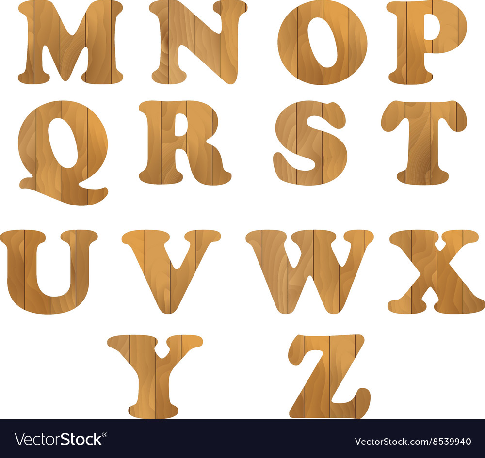 Alphabet made of wooden letters isolated on white.