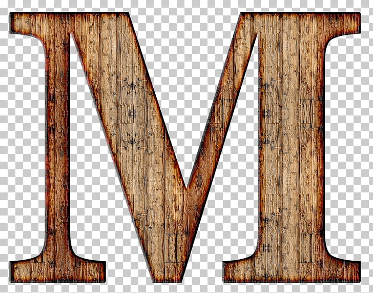Wooden Capital Letter M, brown wooden letter M illustration.