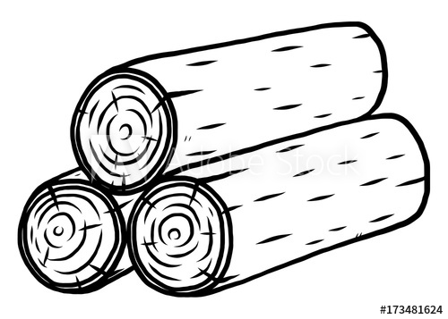 wooden log / cartoon vector and illustration, black and.