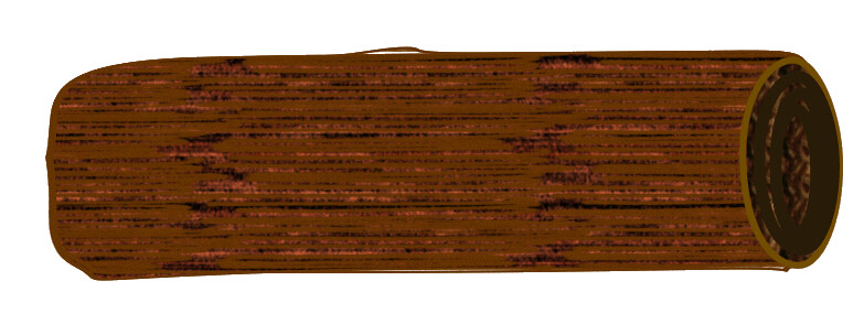 brown log sketch clipart 13 cm long.