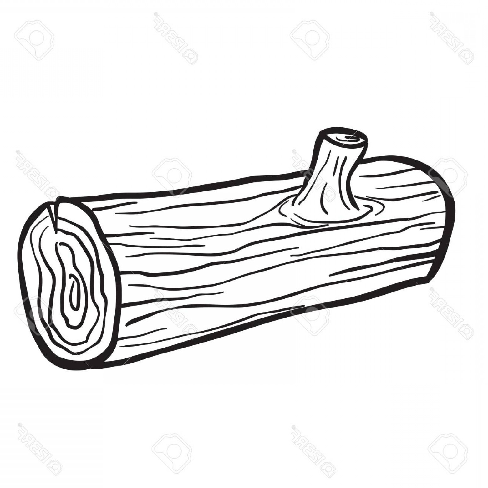 Photostock Vector Wooden Log Black And White Cartoon.