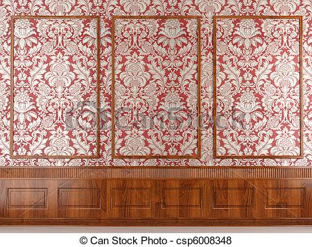Pictures of red wallpaper and wood molding.