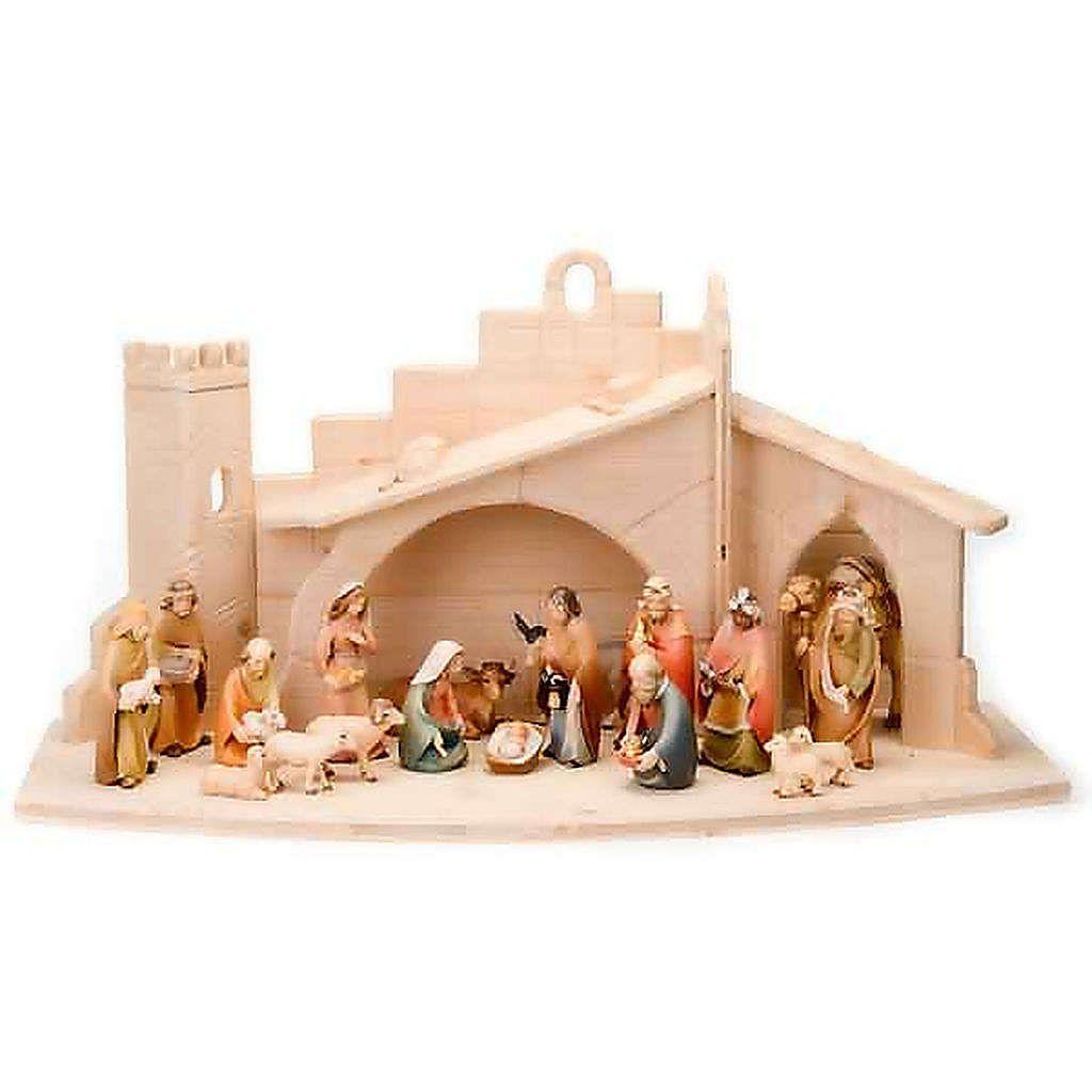 Stylised wooden nativity scene 14 cm.