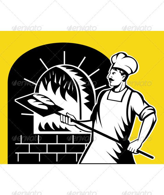 Baker Holding Baking Pan Into Wood Oven.