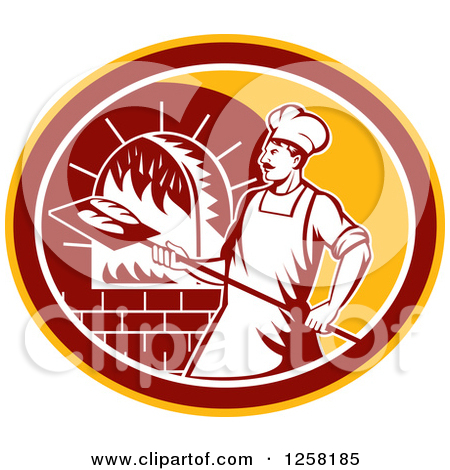 Clipart of a Retro Male Baker Cooking Bread in a Wood Fired Brick.