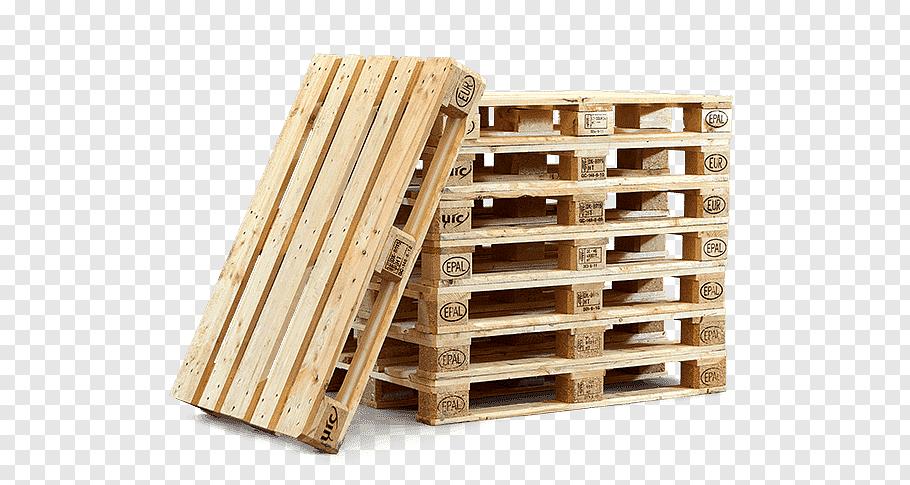 Pile of beige wood pallets, EUR.
