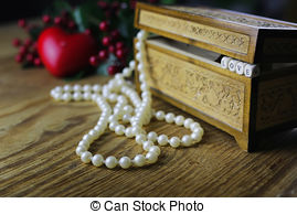 Stock Photographs of pearl necklace love box.