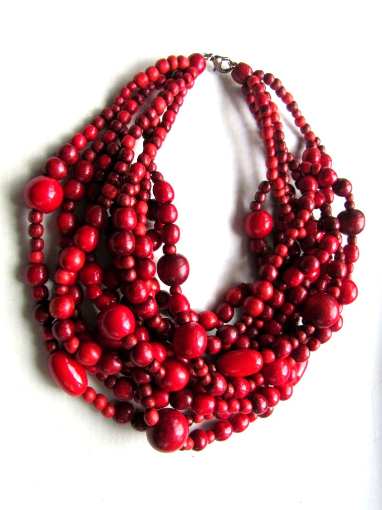 Wooden bead necklace.