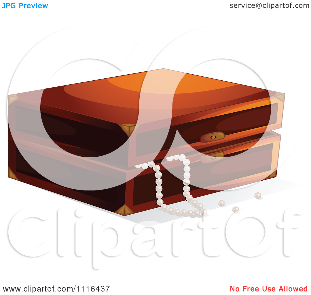 Clipart Wooden Jewelry Box With Pearls.