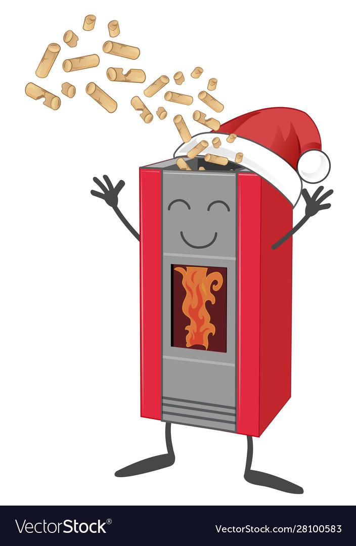 Wood pellet stove cartoon with santa claus hat.
