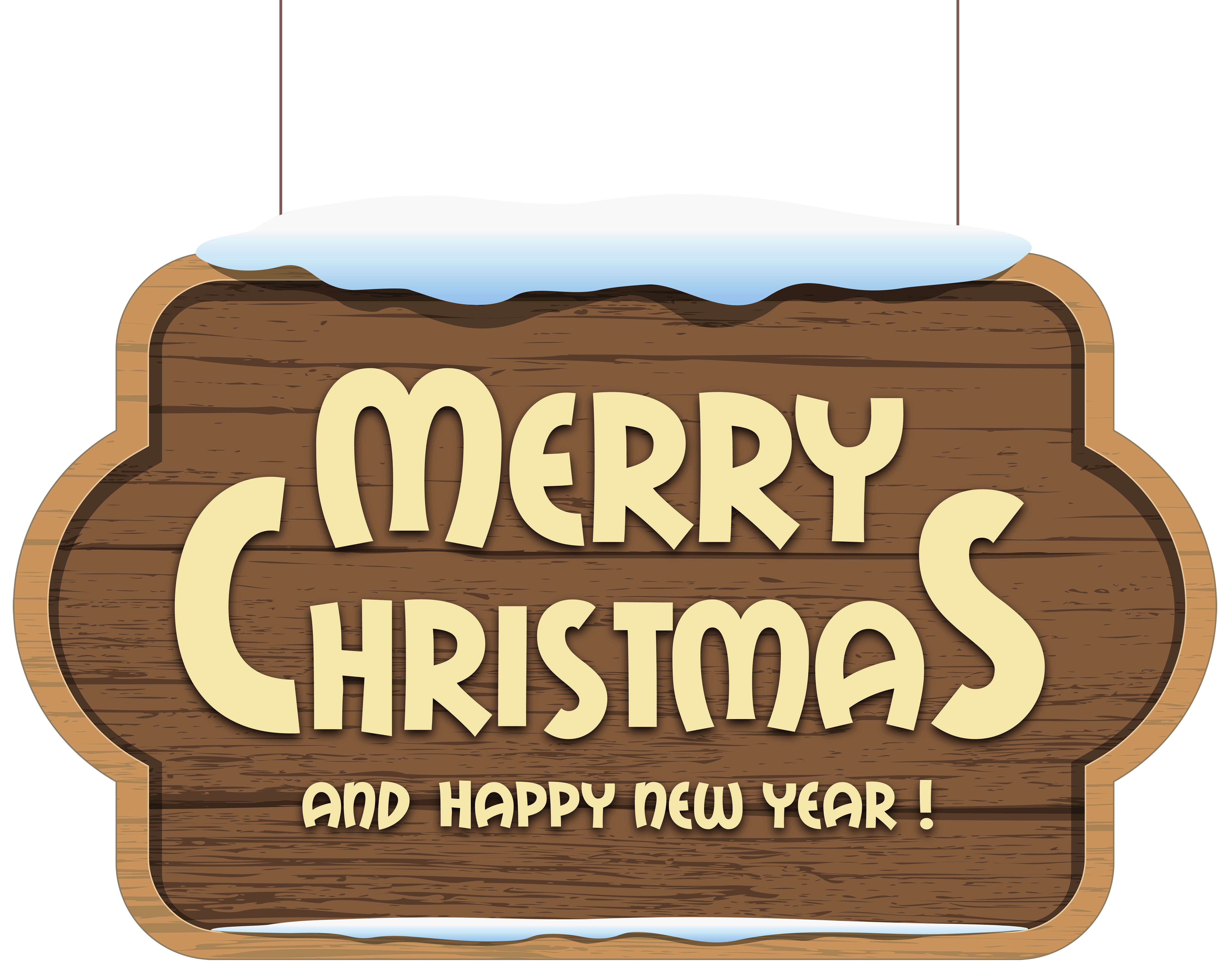 Merry Christmas Wooden Sign PNG Clipart Image.