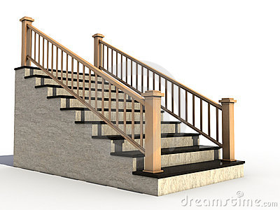 Marble Staircase With Wooden Handrail №1 Stock Photo.