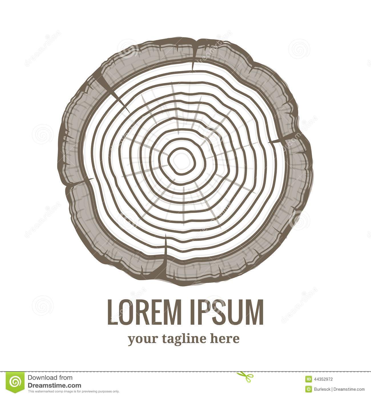 Annual Tree Growth Rings Logo Icon Stock Vector.