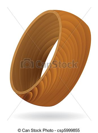 Clipart Vector of Wood grain textured Ring.