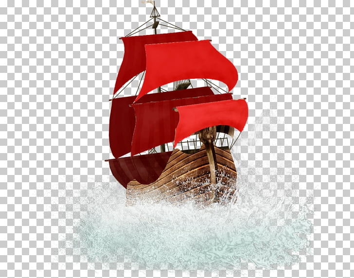 Sailing ship Boat , Red wooden sailboat PNG clipart.