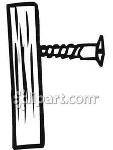 Black_and_White_Wood_Screw_In_A_Board_Royalty_Free_Clipart_Picture_090305.