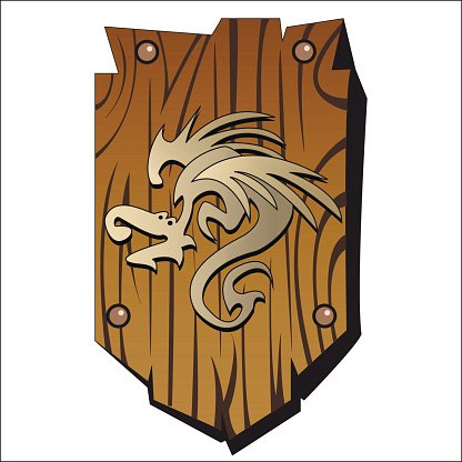 wooden shield Clipart Image.