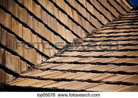 Stock Images of Detail of Wood Roof Shingles lop05076.