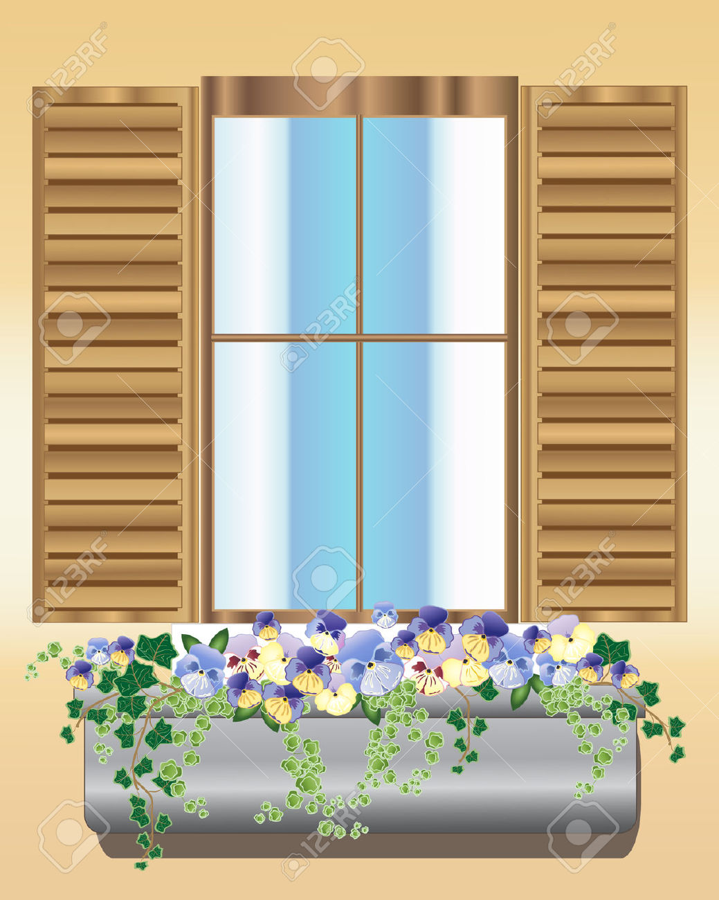 An Illustration Of A Wooden Window With Shutters And A Window.