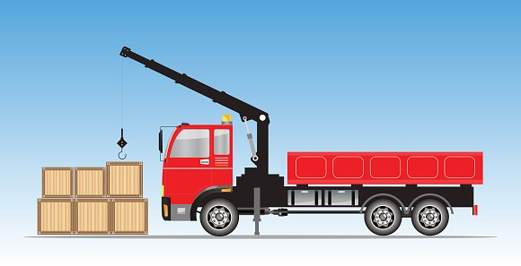 Side view of Crane truck Vector Clipart Image.