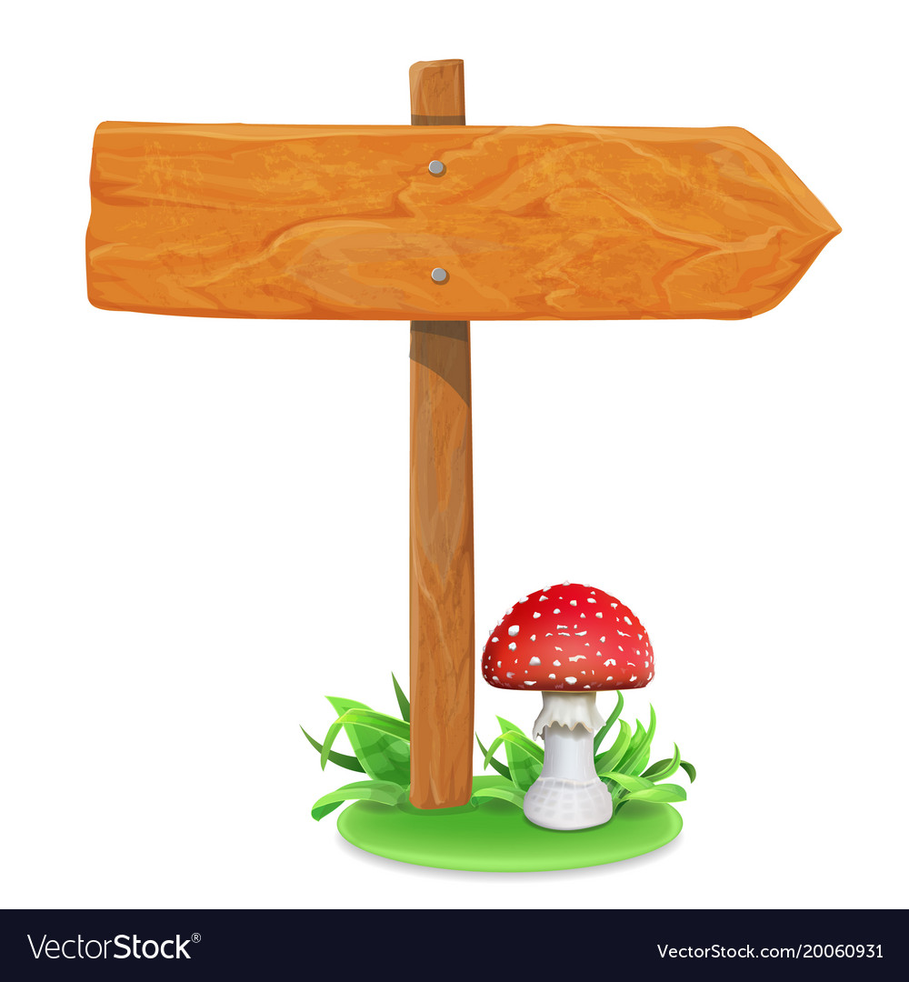 Wood sign board on a grass and mushroom.