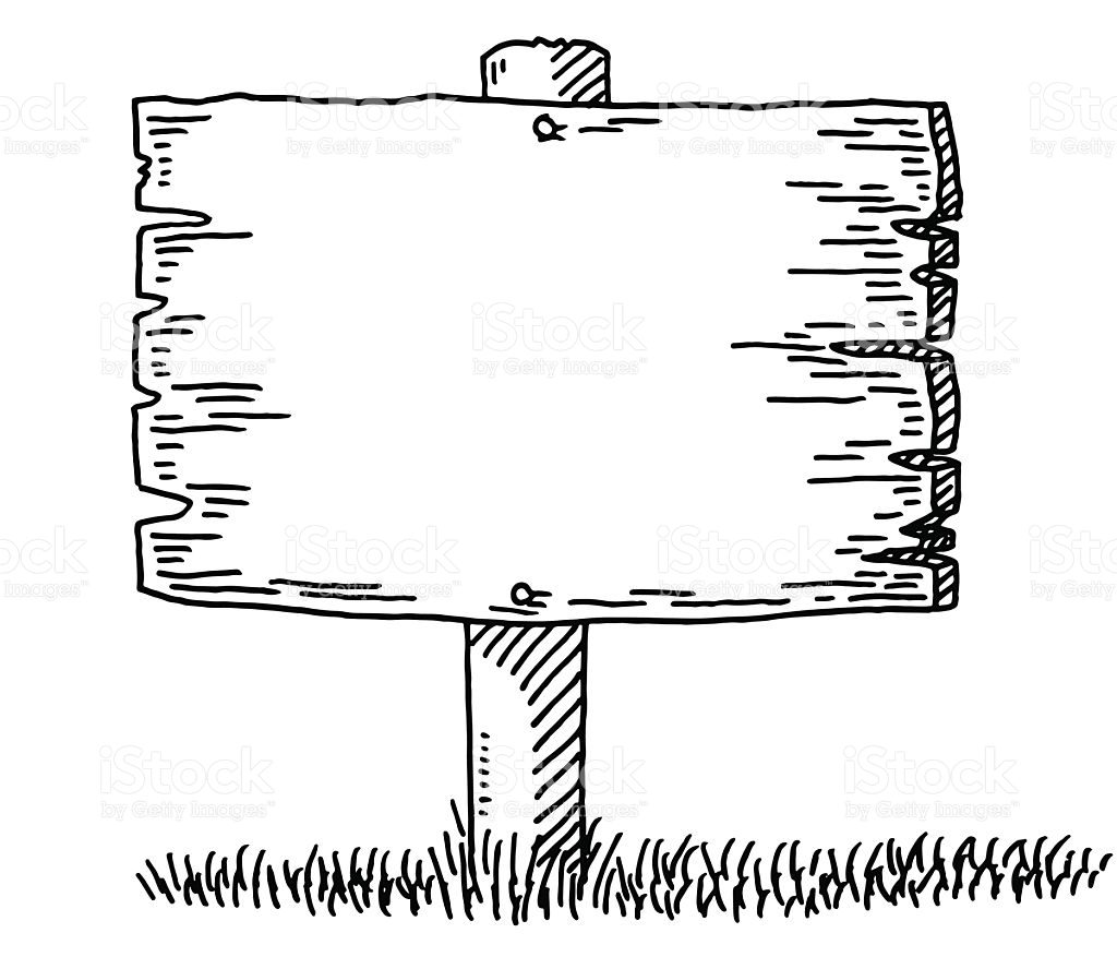 Wood Sign Clipart Black And White.