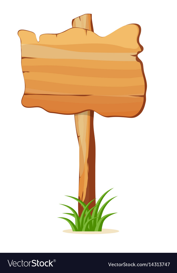 Wooden signpost in grass isolated icon.