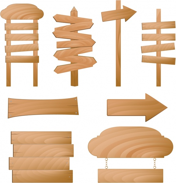 Signboard templates shiny brown wooden shapes Free vector in.