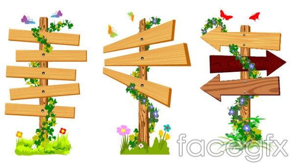 Vines wood sign butterflies wild morning glory vector.