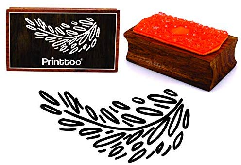 Printtoo Leaf Vine Clipart Rectangular Wooden Rubber Stamp.