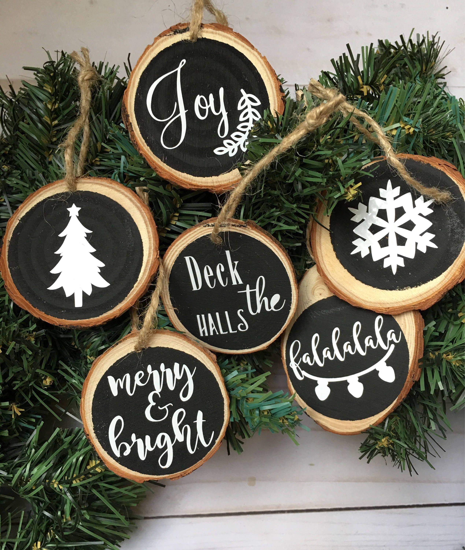 6 Wood Slice Ornaments Set, Chalkboard Ornament Set, Wooden.