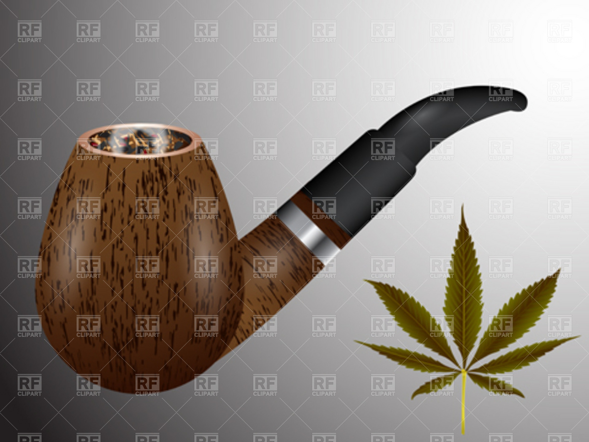 Wooden smoking pipe and cannabis leaf Vector Image #4496.