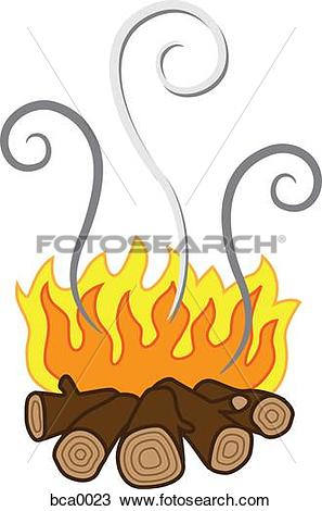 Drawing of A log fire giving off wood smoke pollution bca0023.