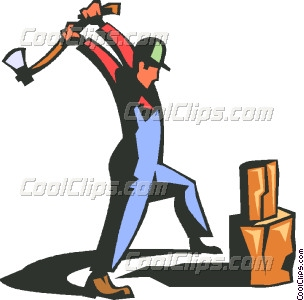 man with axe splitting wood Vector Clip art.