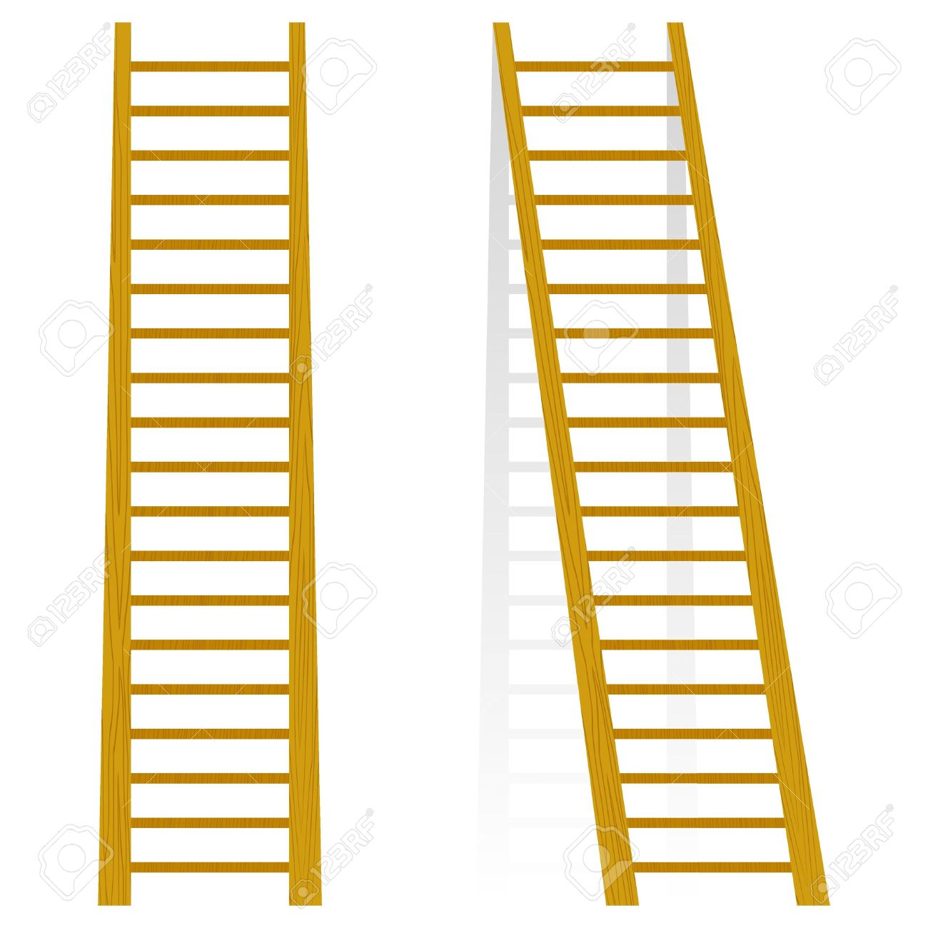 Vector Illustration Of A Wooden Staircase Royalty Free Cliparts.