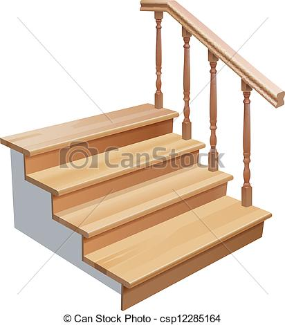 Clip Art Vector of wooden stairs.