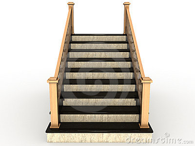 Luxury Descending Wooden Staircase Royalty Free Stock Photos.