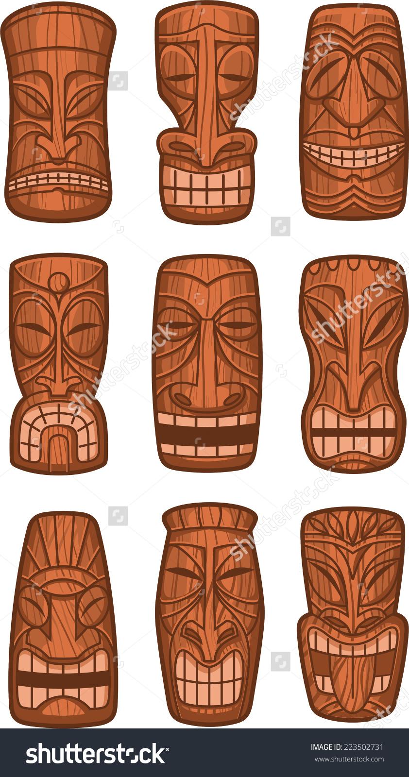 Hawaiian Tiki God Statue Carved Polynesian Stock Vector 223502731.