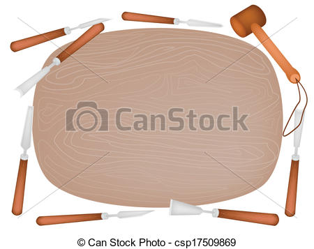 Clip Art Vector of Carving Tools with Wooden Plank on White.