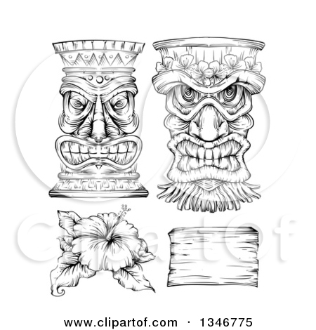 Clipart of a Black and White Engraved Tiki Statue, Mask, Hibiscus.