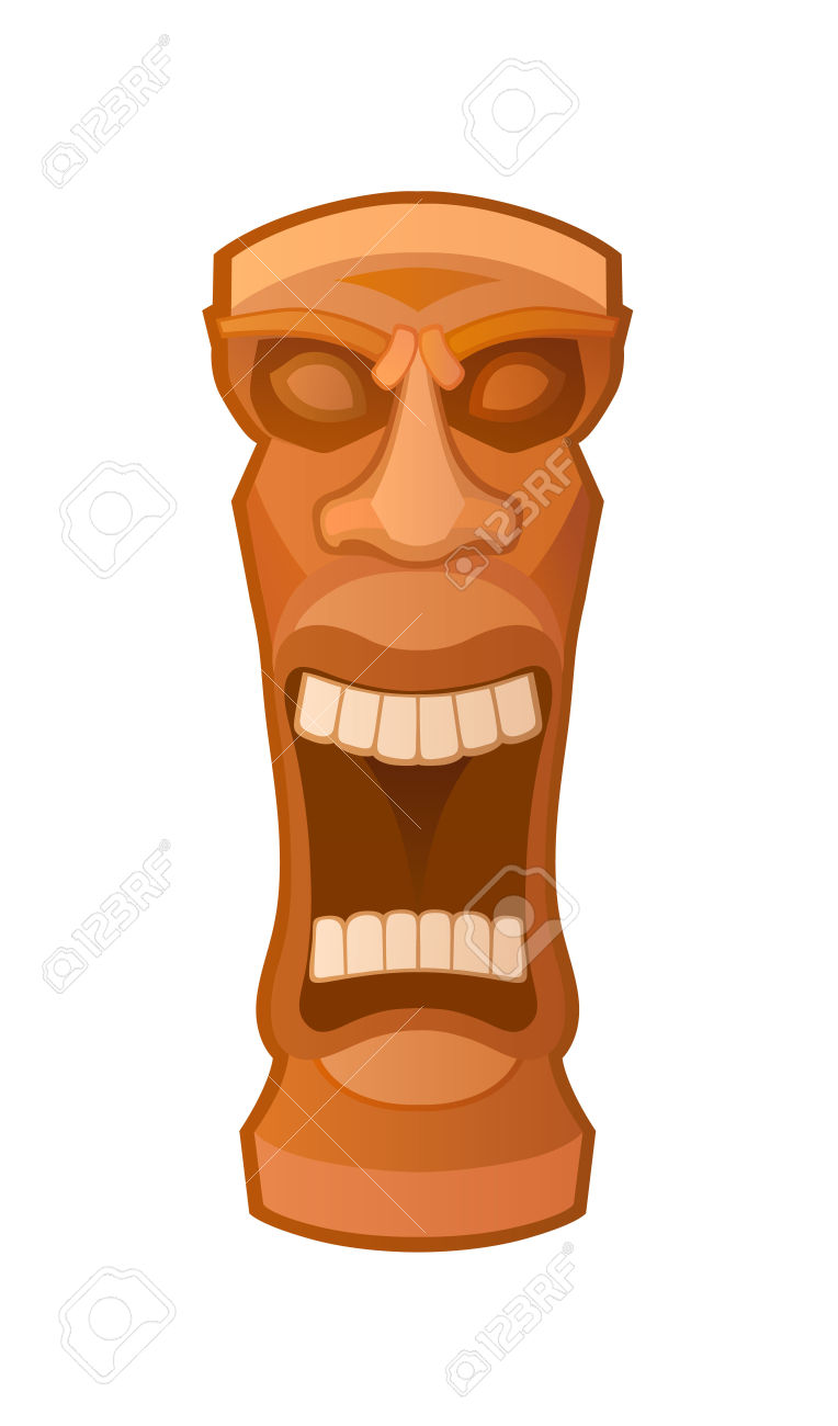 Hawaiian Tiki God Statue Carved Polynesian Wood Vector.