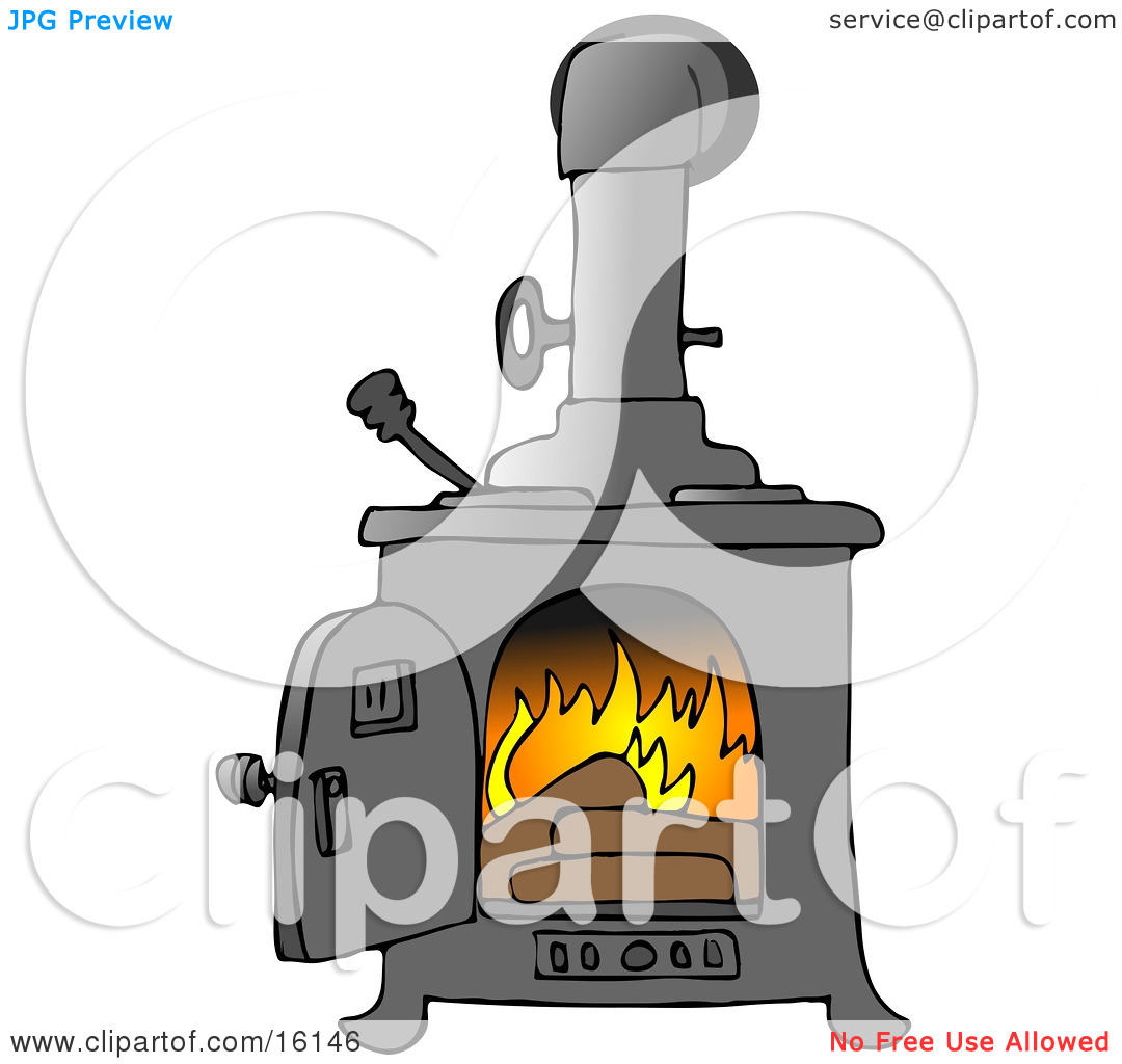 Logs Burning In A Wood Stove To Keep A House Warm Clipart.