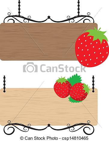 Clip Art Vector of Strawberry wood sign csp14810465.