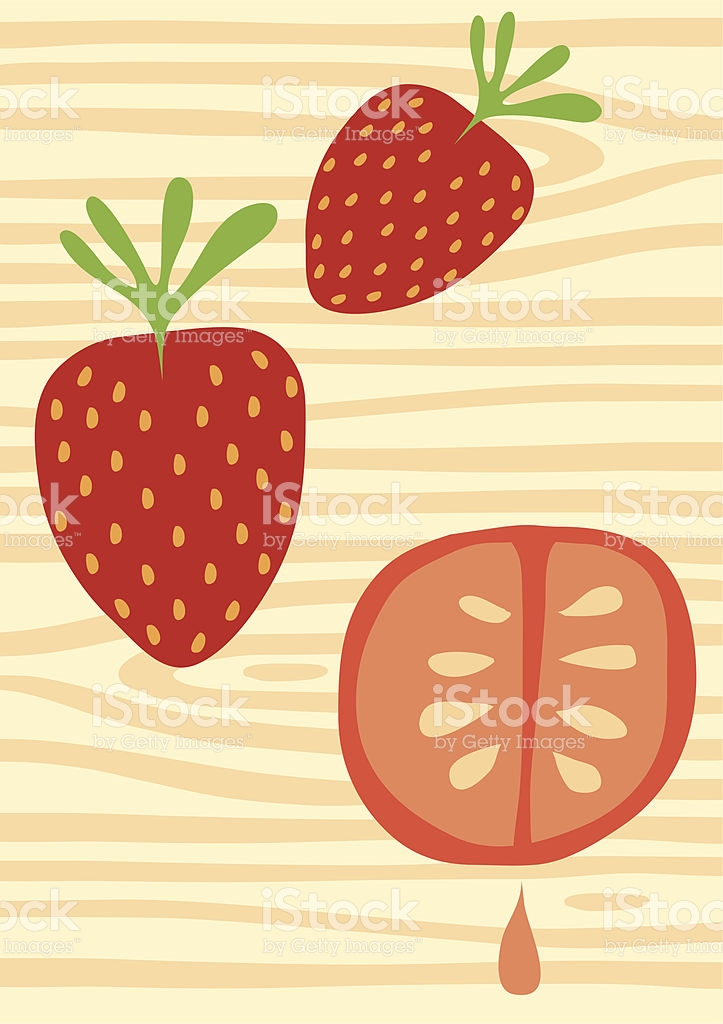 Fruity Wood Strawberry Tomato Drip Illustration stock vector art.