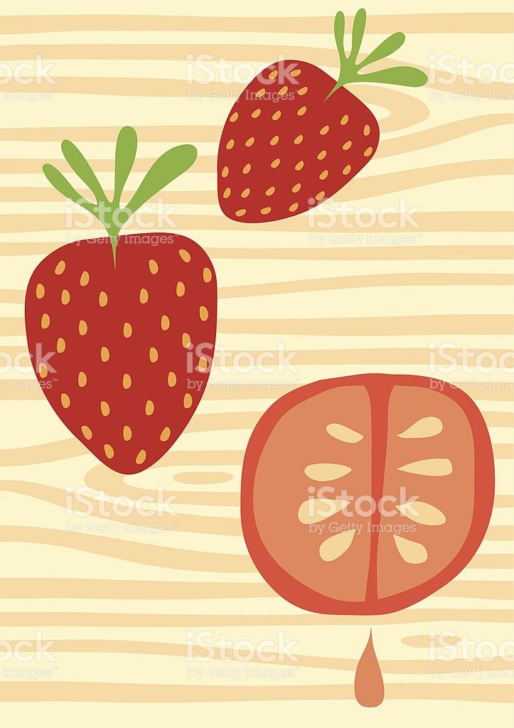 Fruity Wood Strawberry Tomato Drip Illustration stock vector art.