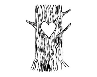 Heart carved in a tree clipart.
